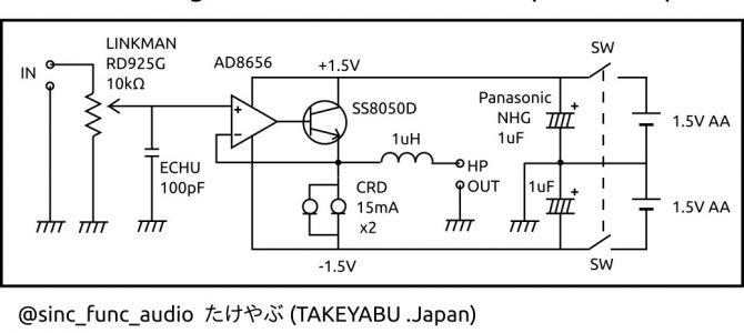"""【自作】 """"OP1Tr"""" – 超シンプル & 高音質な ポータブルヘッドホンアンプ"""